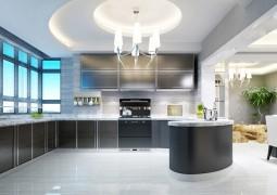 集成灶与现代风格橱柜完美结合,板川整体安装效果图