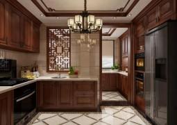 厨壹堂新中式风格装修效果图,集成灶与新中式橱柜装修图