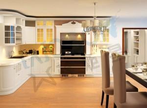 蓝炬星集成灶简欧风格整体厨房装修图