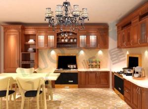 蓝炬星集成灶美式厨房装修图,美式橱柜配集成灶