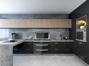 现代简约风整体厨房装修图,帅丰集成灶安装效果图
