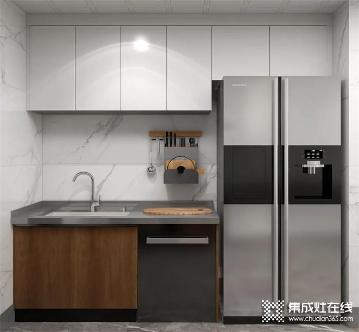 17㎡森歌开放式厨房,一台A8ZK蒸烤一体集成灶搭配不锈钢橱柜,完美融入新中式设计!
